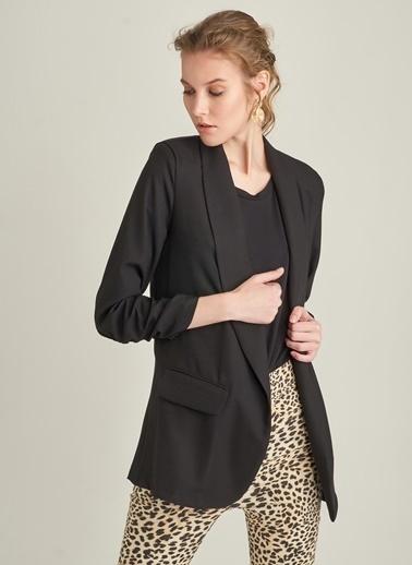 Ng Style Keten Karışımlı Kol Büzgülü Ceket Siyah